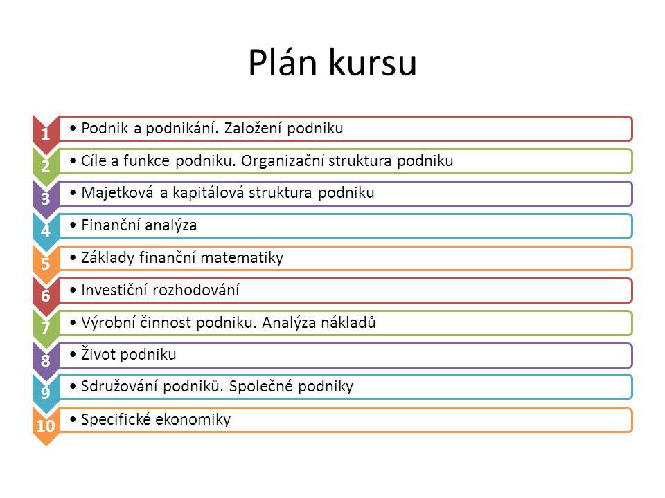Plán kursu 1 Podnik a podnikání. Založení podniku 2 Cíle a funkce podniku. Organizační struktura podniku 3 Majetková a kapitálová struktura podniku 4