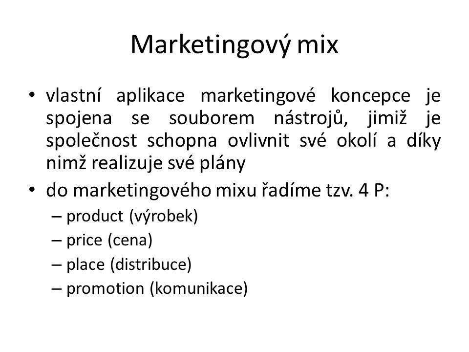 Marketingový mix vlastní aplikace marketingové koncepce je spojena se souborem nástrojů, jimiž je společnost schopna ovlivnit své okolí a díky nimž realizuje své plány do marketingového mixu řadíme tzv.