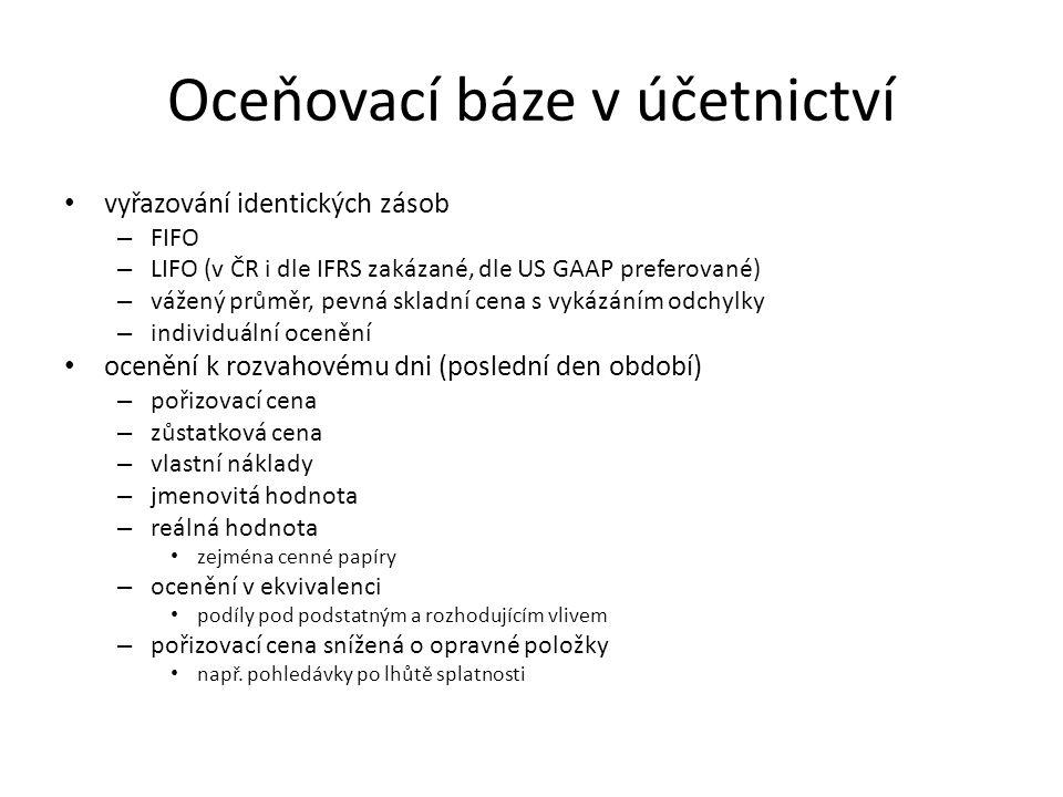 Oceňovací báze v účetnictví vyřazování identických zásob – FIFO – LIFO (v ČR i dle IFRS zakázané, dle US GAAP preferované) – vážený průměr, pevná skla