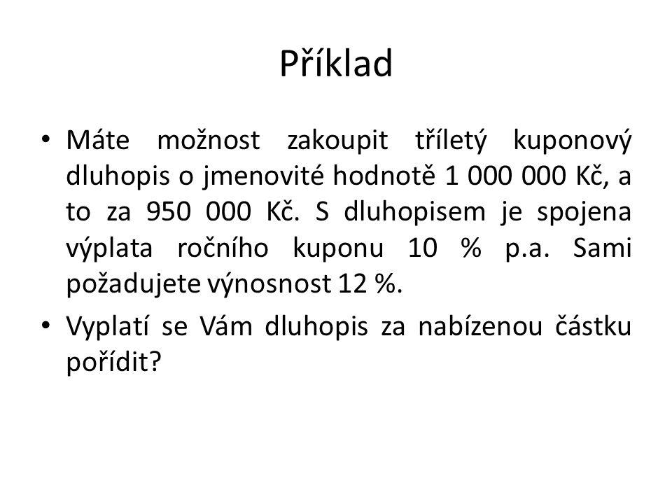 Příklad Máte možnost zakoupit tříletý kuponový dluhopis o jmenovité hodnotě 1 000 000 Kč, a to za 950 000 Kč.