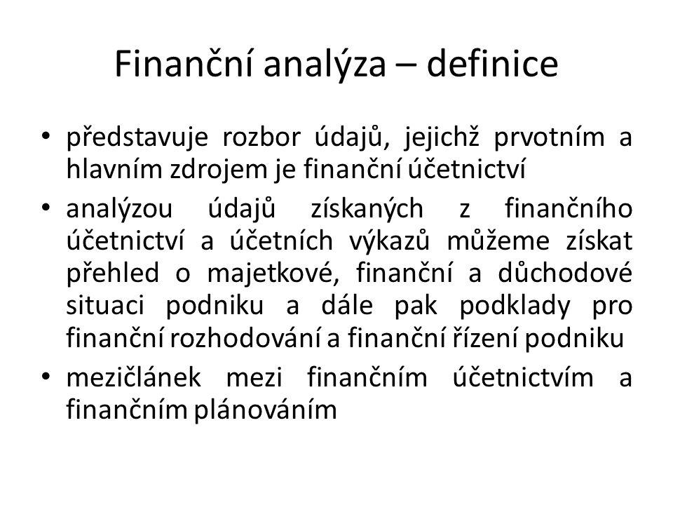 Finanční analýza – definice představuje rozbor údajů, jejichž prvotním a hlavním zdrojem je finanční účetnictví analýzou údajů získaných z finančního účetnictví a účetních výkazů můžeme získat přehled o majetkové, finanční a důchodové situaci podniku a dále pak podklady pro finanční rozhodování a finanční řízení podniku mezičlánek mezi finančním účetnictvím a finančním plánováním