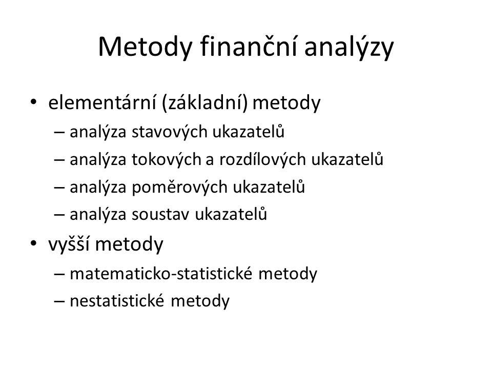 Metody finanční analýzy elementární (základní) metody – analýza stavových ukazatelů – analýza tokových a rozdílových ukazatelů – analýza poměrových ukazatelů – analýza soustav ukazatelů vyšší metody – matematicko-statistické metody – nestatistické metody