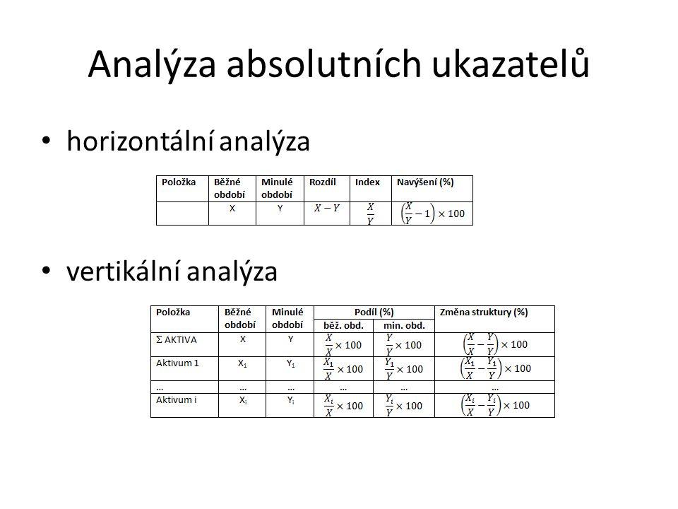 Analýza absolutních ukazatelů horizontální analýza vertikální analýza