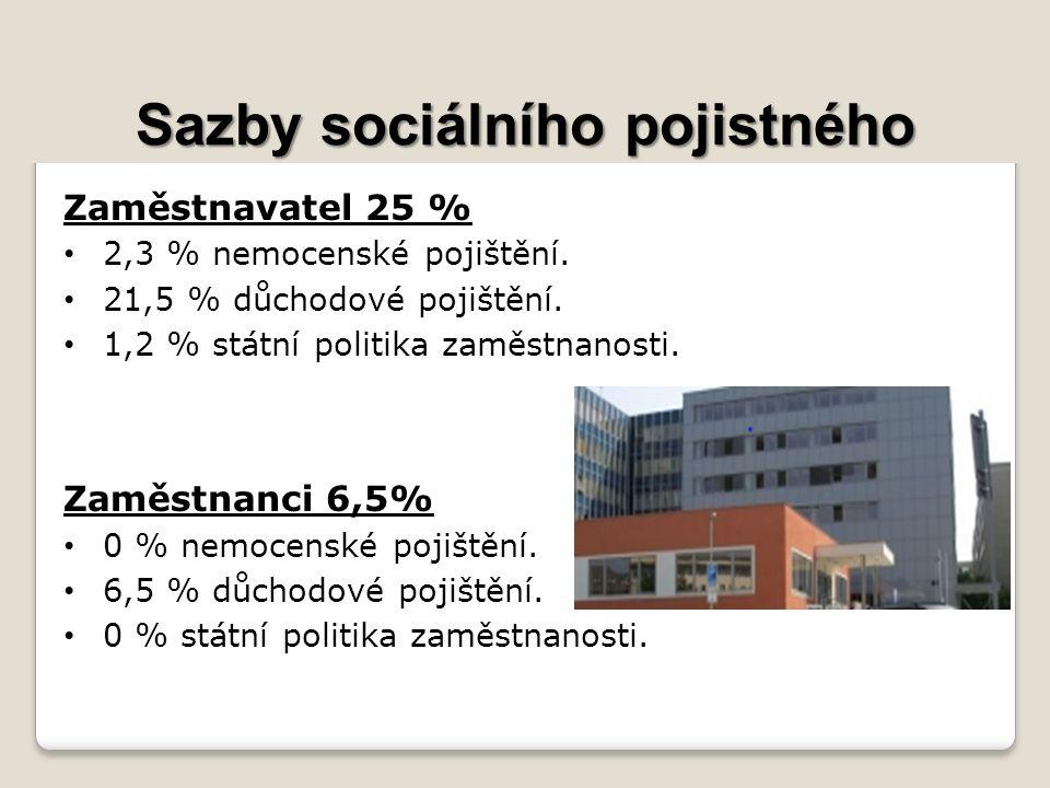 Sazby sociálního pojistného Zaměstnavatel 25 % 2,3 % nemocenské pojištění.