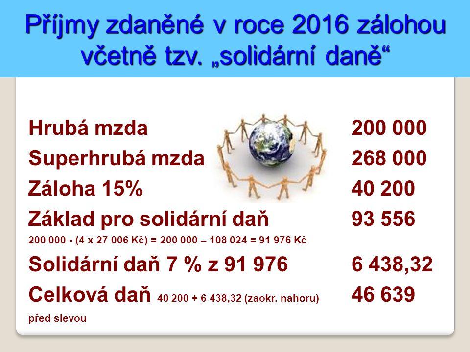 Příjmy zdaněné v roce 2016 zálohou včetně tzv.
