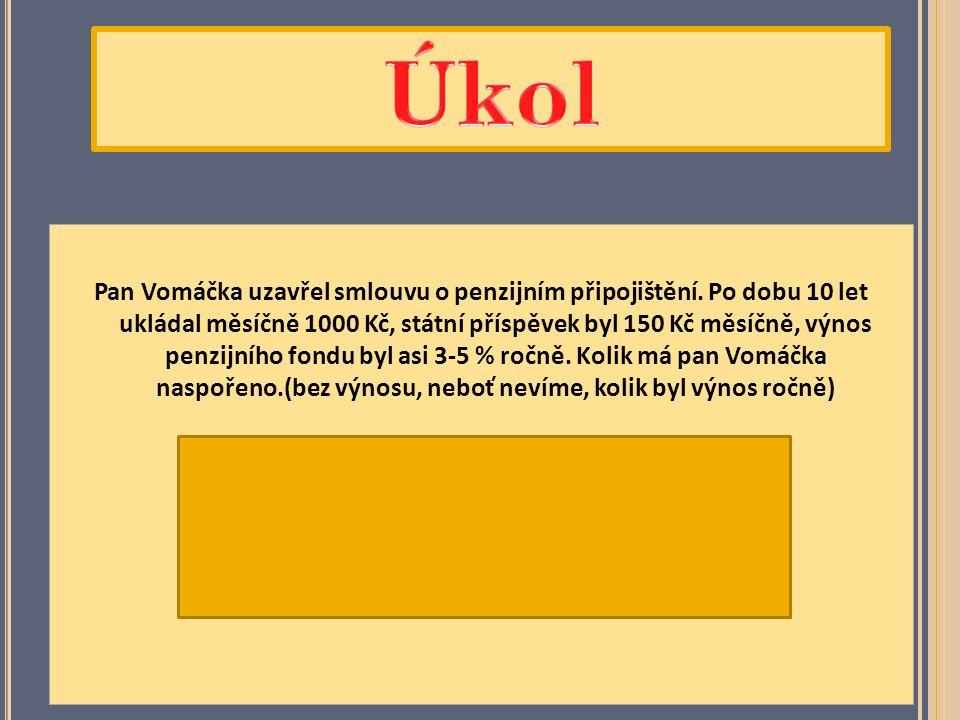 Pan Vomáčka uzavřel smlouvu o penzijním připojištění.