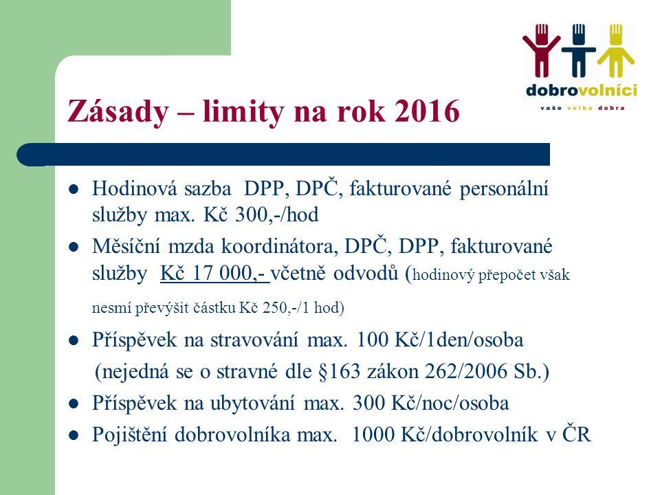 Zásady – limity na rok 2016 Hodinová sazba DPP, DPČ, fakturované personální služby max. Kč 300,-/hod Měsíční mzda koordinátora, DPČ, DPP, fakturované