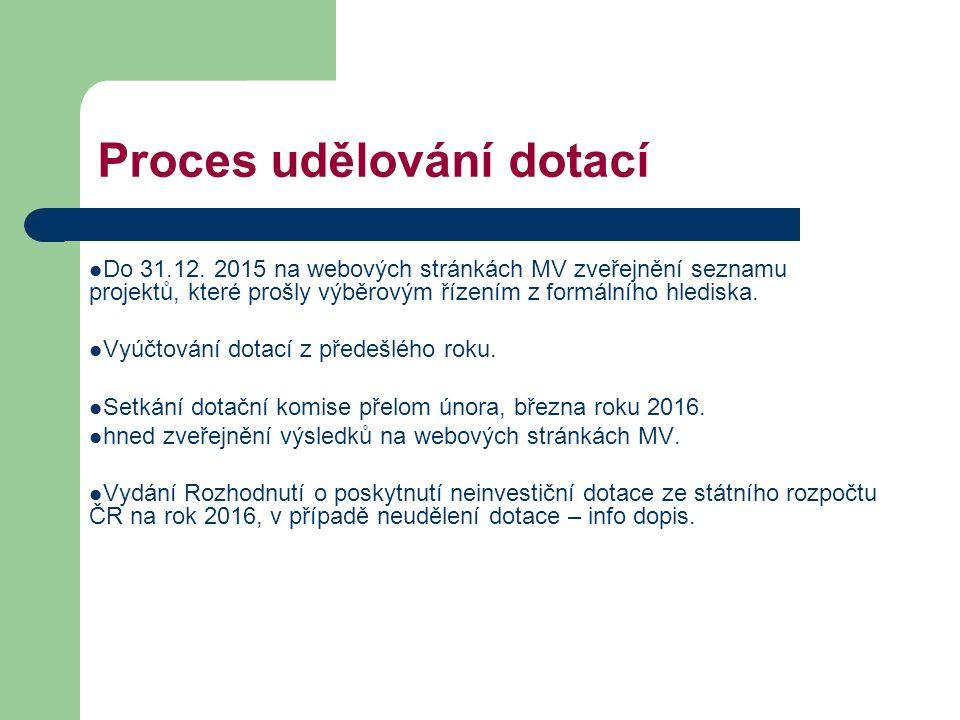 Proces udělování dotací Do 31.12. 2015 na webových stránkách MV zveřejnění seznamu projektů, které prošly výběrovým řízením z formálního hlediska. Vyú