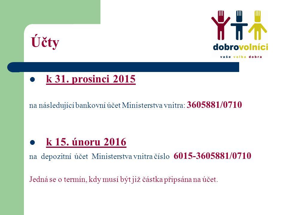 Účty k 31. prosinci 2015 na následující bankovní účet Ministerstva vnitra: 3605881/0710 k 15. únoru 2016 na depozitní účet Ministerstva vnitra číslo 6
