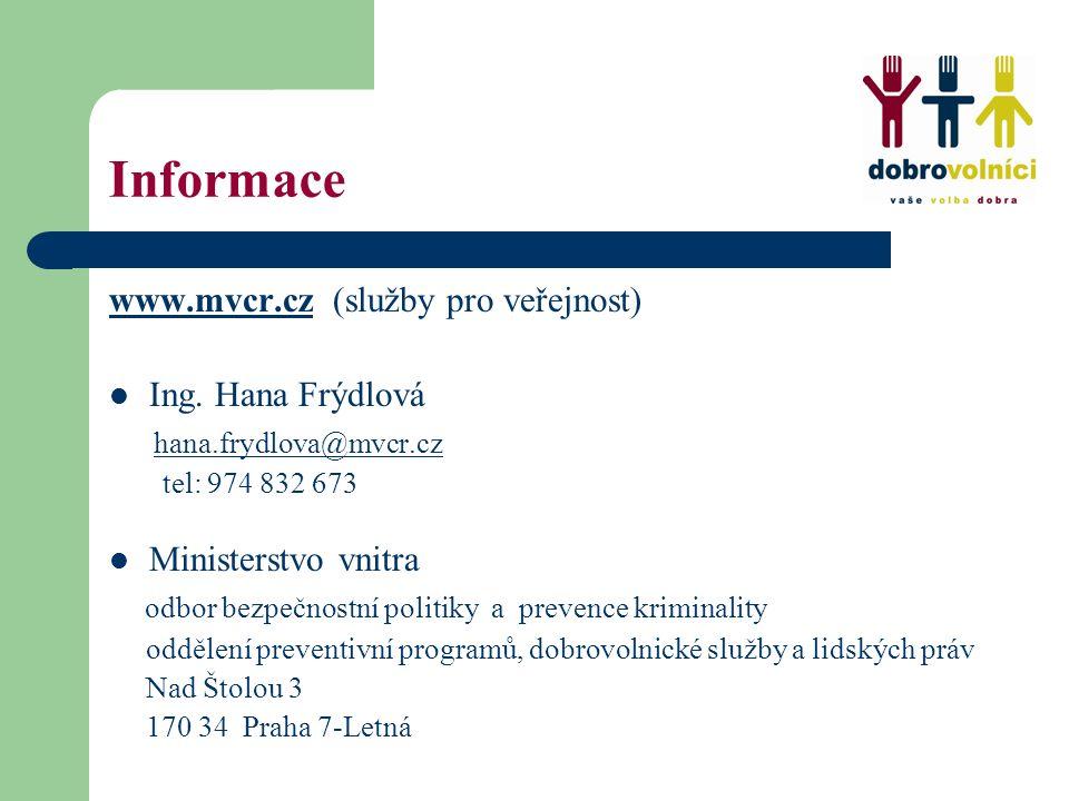 Informace www.mvcr.czwww.mvcr.cz (služby pro veřejnost) Ing. Hana Frýdlová hana.frydlova@mvcr.cz@mvcr.cz tel: 974 832 673 Ministerstvo vnitra odbor be