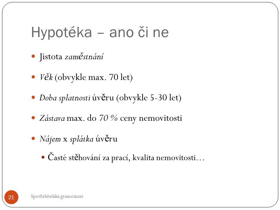 Hypotéka – ano či ne Spot ř ebitelská gramotnost 21 Jistota zam ě stnání V ě k (obvykle max.