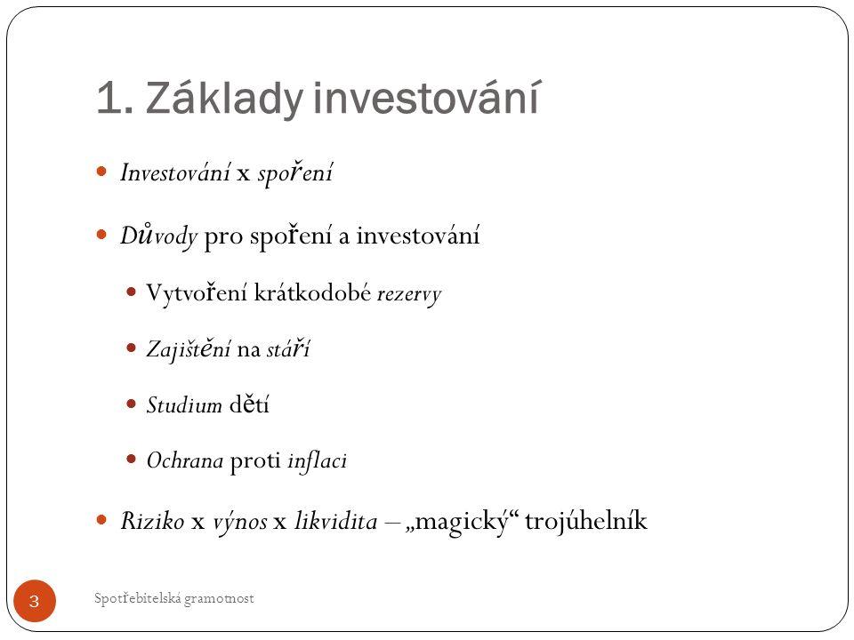 1. Základy investování Investování x spo ř ení D ů vody pro spo ř ení a investování Vytvo ř ení krátkodobé rezervy Zajišt ě ní na stá ř í Studium d ě