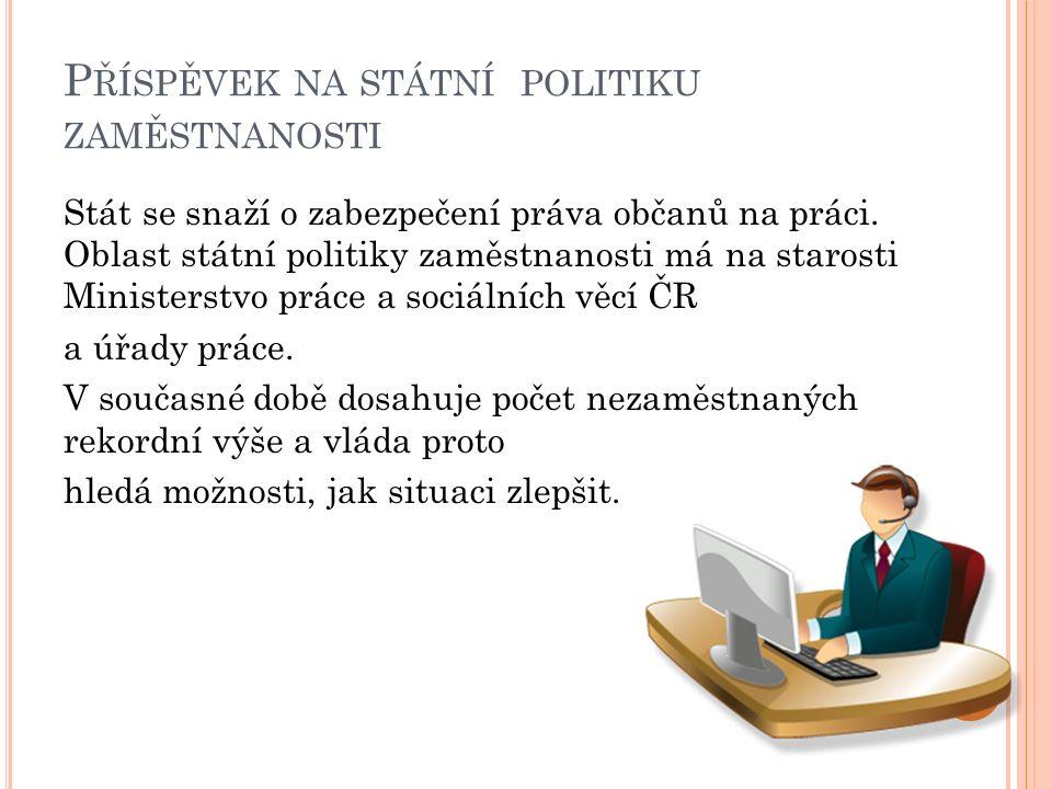 P ŘÍSPĚVEK NA STÁTNÍ POLITIKU ZAMĚSTNANOSTI Stát se snaží o zabezpečení práva občanů na práci. Oblast státní politiky zaměstnanosti má na starosti Min