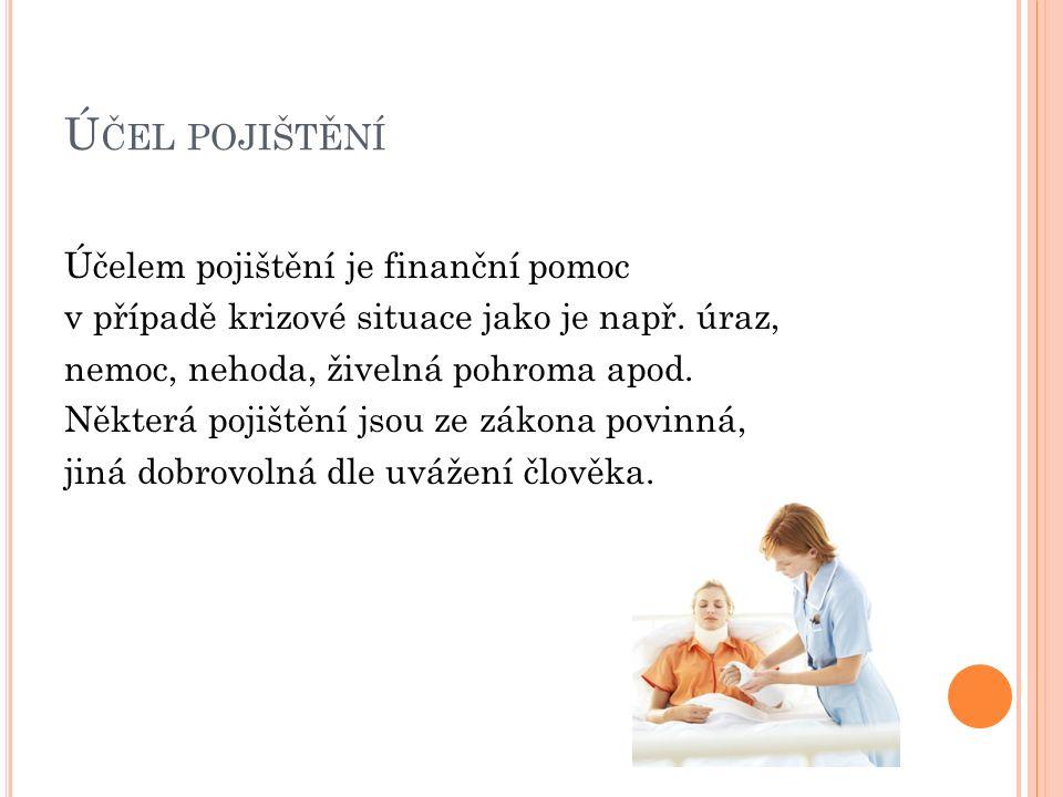 Ú ČEL POJIŠTĚNÍ Účelem pojištění je finanční pomoc v případě krizové situace jako je např. úraz, nemoc, nehoda, živelná pohroma apod. Některá pojištěn