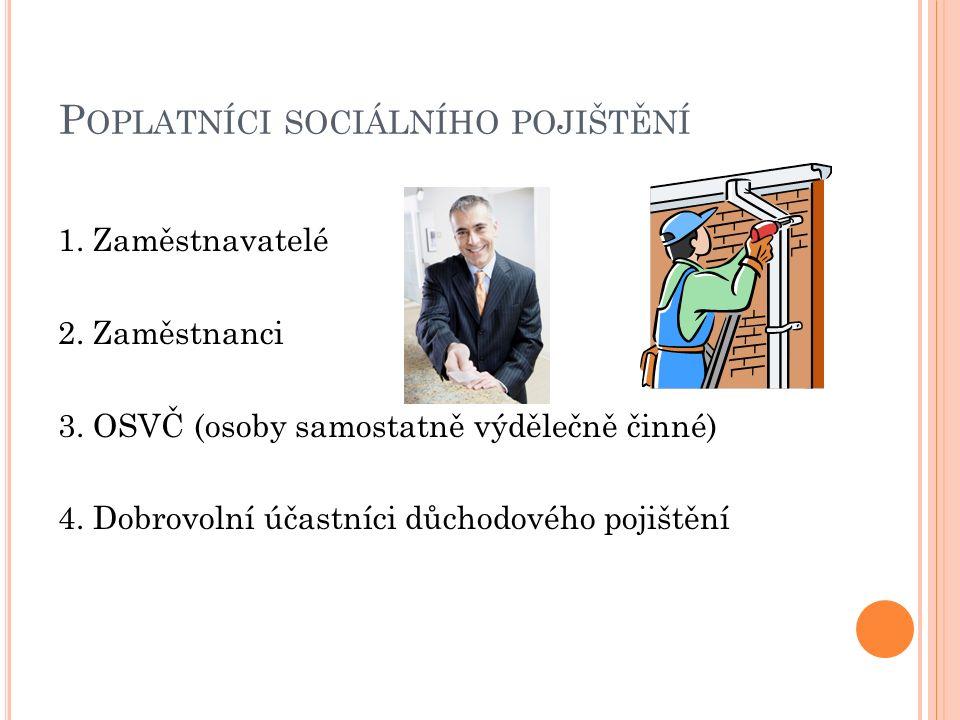 P OPLATNÍCI SOCIÁLNÍHO POJIŠTĚNÍ 1.Zaměstnavatelé 2.