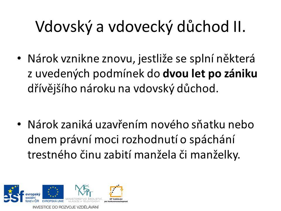 Vdovský a vdovecký důchod II.