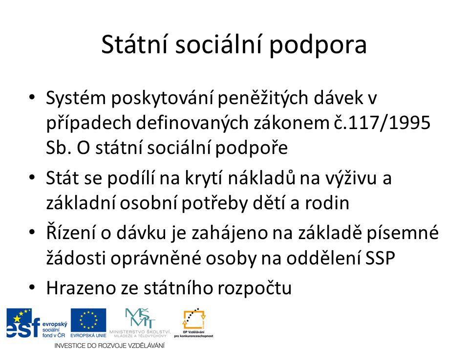 Státní sociální podpora Systém poskytování peněžitých dávek v případech definovaných zákonem č.117/1995 Sb.