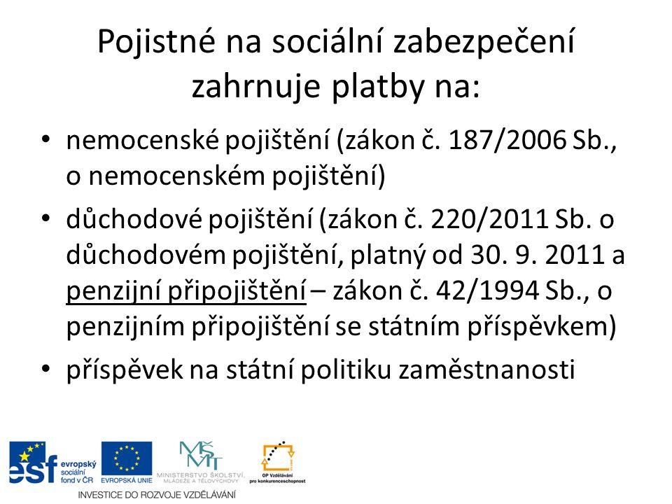 Pojistné na sociální zabezpečení zahrnuje platby na: nemocenské pojištění (zákon č.