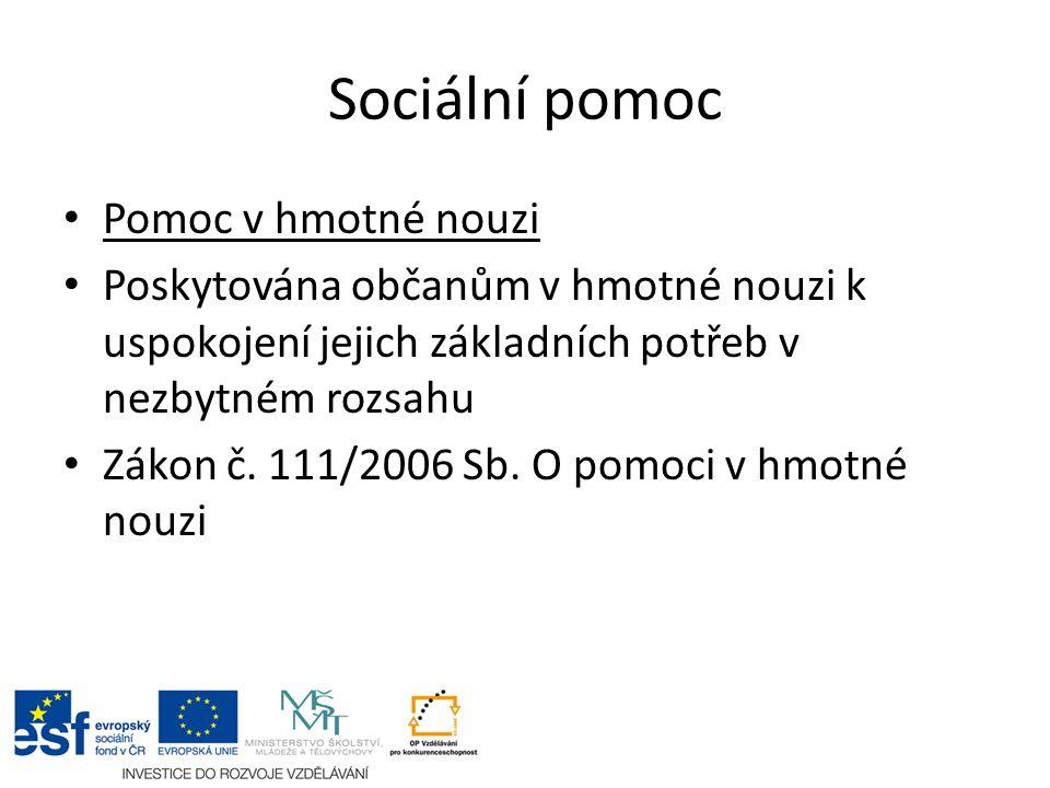 Sociální pomoc Pomoc v hmotné nouzi Poskytována občanům v hmotné nouzi k uspokojení jejich základních potřeb v nezbytném rozsahu Zákon č. 111/2006 Sb.