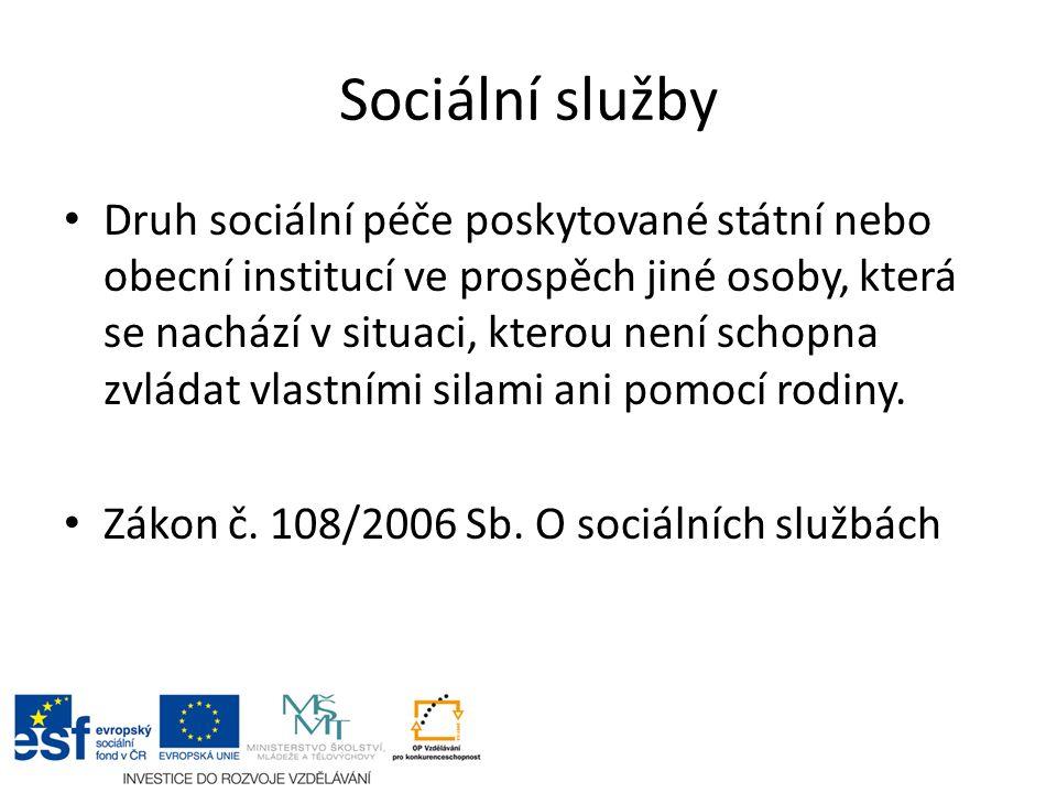 Sociální služby Druh sociální péče poskytované státní nebo obecní institucí ve prospěch jiné osoby, která se nachází v situaci, kterou není schopna zvládat vlastními silami ani pomocí rodiny.
