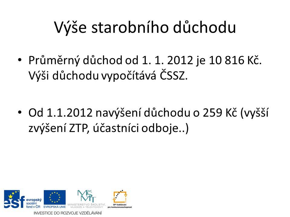 Výše starobního důchodu Průměrný důchod od 1. 1. 2012 je 10 816 Kč.