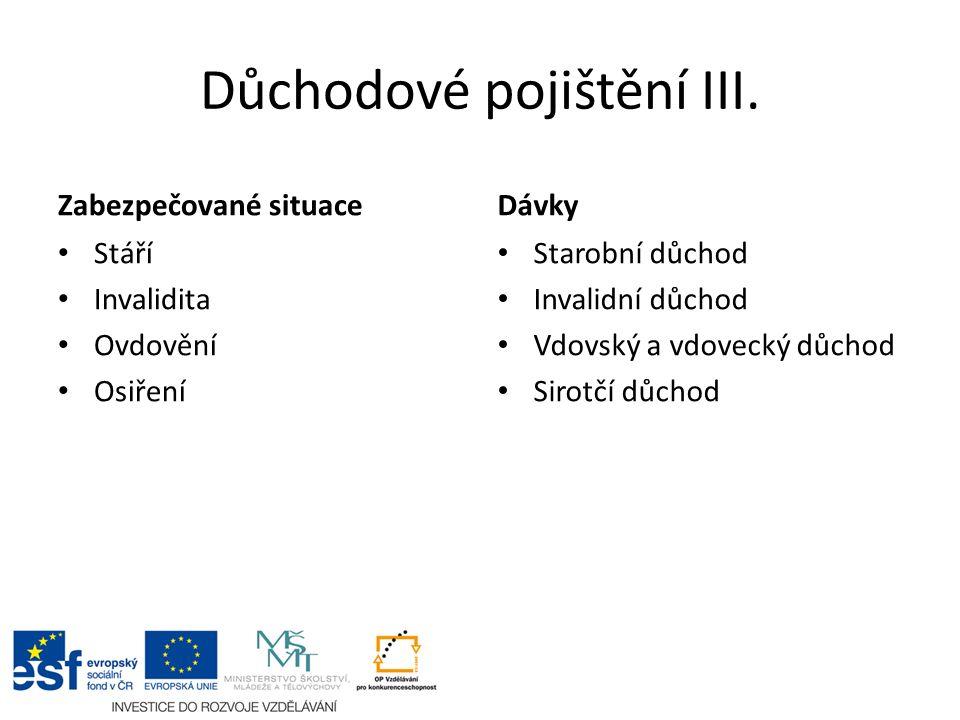 Důchodové pojištění III.