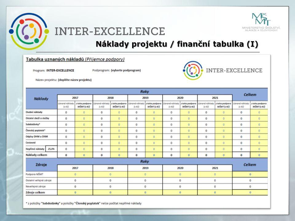 Náklady projektu / finanční tabulka (I)