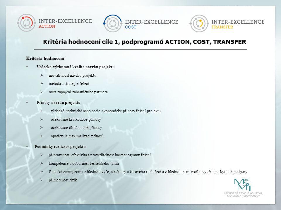 Kritéria hodnocení  Vědecko-výzkumná kvalita návrhu projektu  inovativnost návrhu projektu  metoda a strategie řešení  míra zapojení zahraničního partnera  Přínosy návrhu projektu  vědecké, technické nebo socio-ekonomické přínosy řešení projektu  očekávané krátkodobé přínosy  očekávané dlouhodobé přínosy  opatření k maximalizaci přínosů  Podmínky realizace projektu  připravenost, efektivita a proveditelnost harmonogramu řešení  kompetence a odbornost řešitelského týmu  finanční zabezpečení z hlediska výše, struktury a časového rozložení a z hlediska efektivního využití poskytnuté podpory  přiměřenost rizik Kritéria hodnocení cíle 1, podprogramů ACTION, COST, TRANSFER