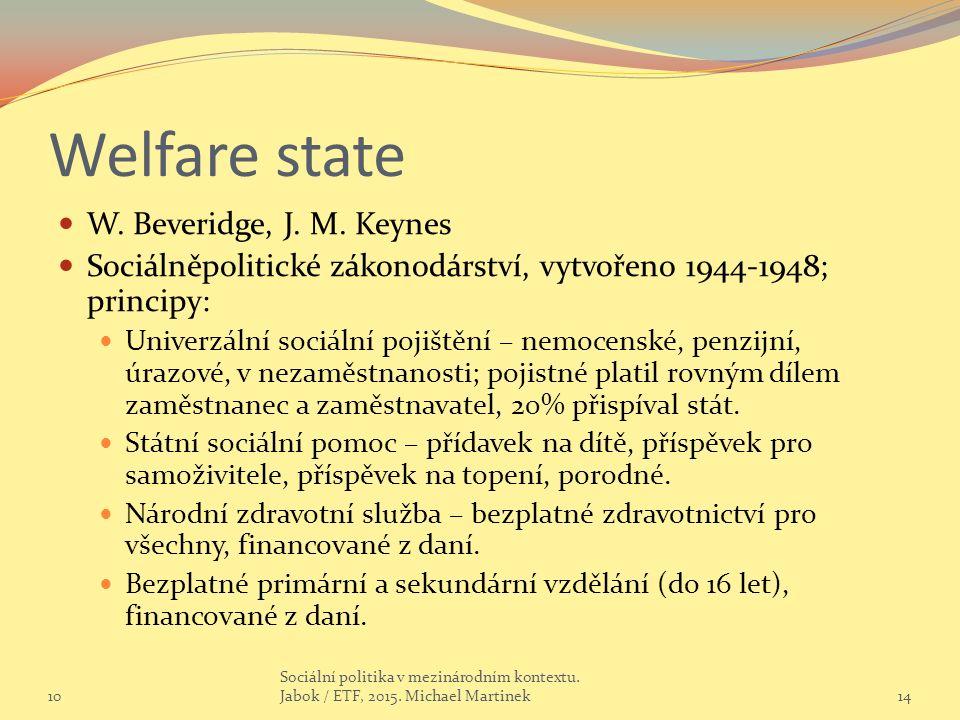 Welfare state W. Beveridge, J. M. Keynes Sociálněpolitické zákonodárství, vytvořeno 1944-1948; principy: Univerzální sociální pojištění – nemocenské,