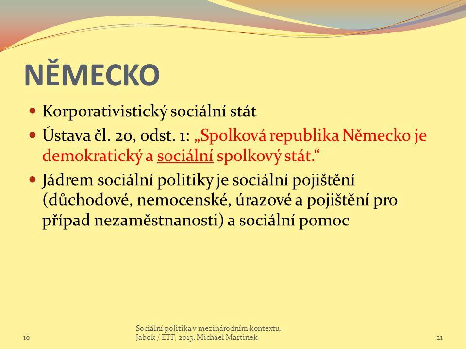 """NĚMECKO Korporativistický sociální stát Ústava čl. 20, odst. 1: """"Spolková republika Německo je demokratický a sociální spolkový stát."""" Jádrem sociální"""