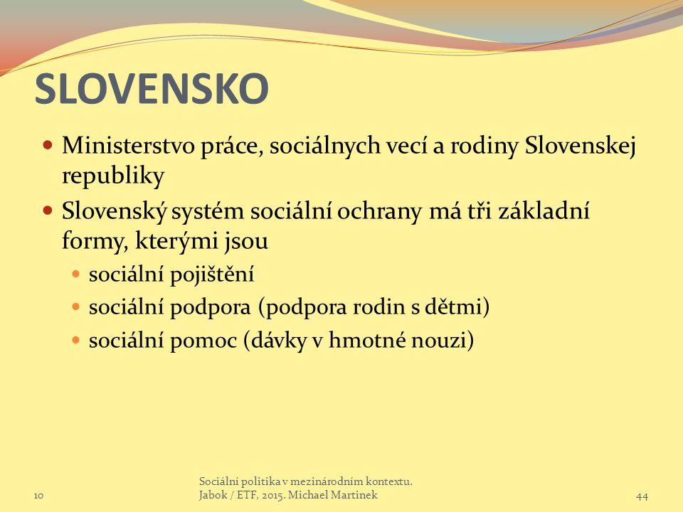 SLOVENSKO Ministerstvo práce, sociálnych vecí a rodiny Slovenskej republiky Slovenský systém sociální ochrany má tři základní formy, kterými jsou soci
