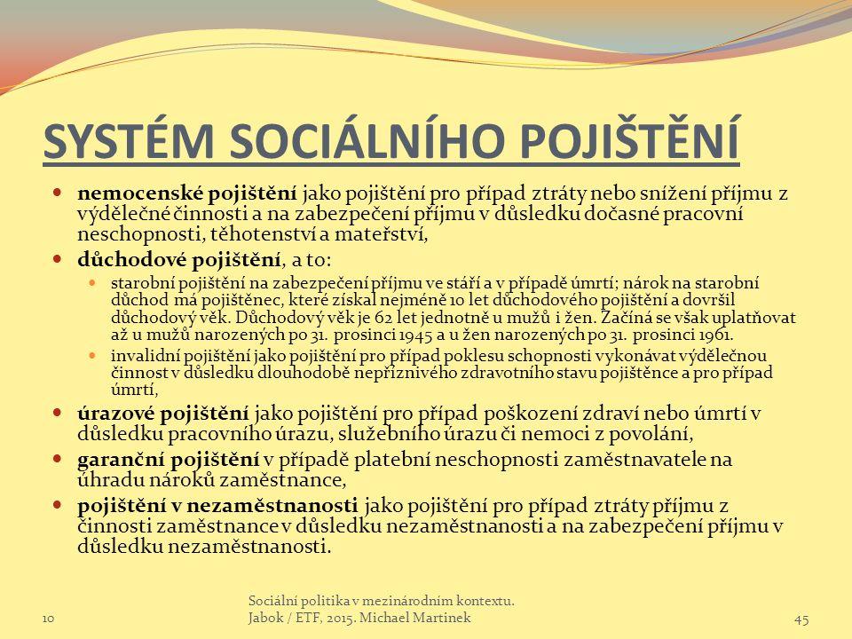 SYSTÉM SOCIÁLNÍHO POJIŠTĚNÍ nemocenské pojištění jako pojištění pro případ ztráty nebo snížení příjmu z výdělečné činnosti a na zabezpečení příjmu v d