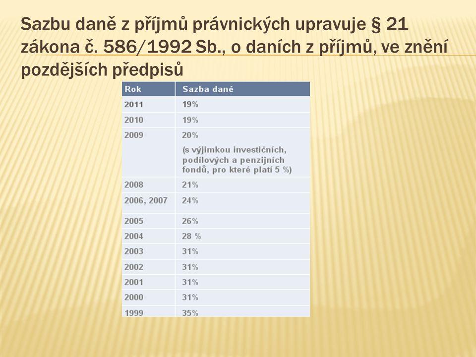 Sazbu daně z příjmů právnických upravuje § 21 zákona č. 586/1992 Sb., o daních z příjmů, ve znění pozdějších předpisů