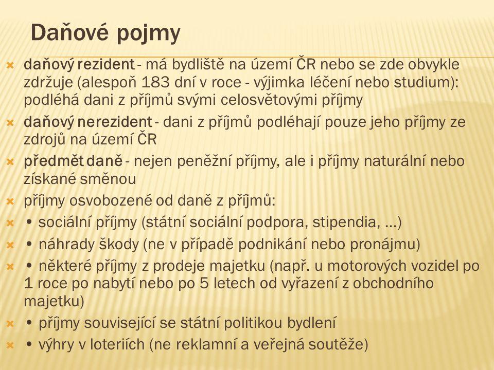 Daňové pojmy  daňový rezident - má bydliště na území ČR nebo se zde obvykle zdržuje (alespoň 183 dní v roce - výjimka léčení nebo studium): podléhá d
