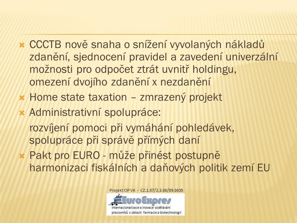  CCCTB nově snaha o snížení vyvolaných nákladů zdanění, sjednocení pravidel a zavedení univerzální možnosti pro odpočet ztrát uvnitř holdingu, omezen