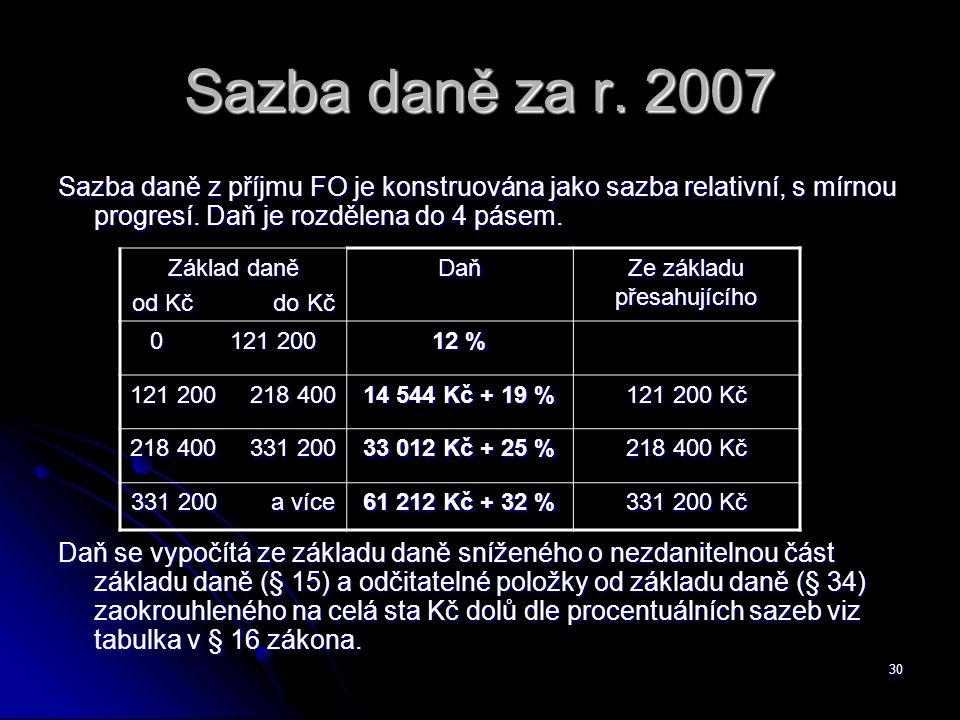 30 Sazba daně za r.