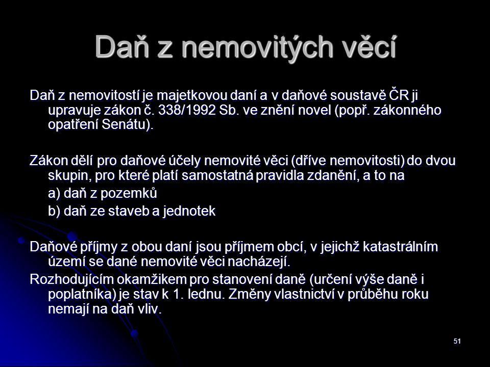 51 Daň z nemovitých věcí Daň z nemovitostí je majetkovou daní a v daňové soustavě ČR ji upravuje zákon č.