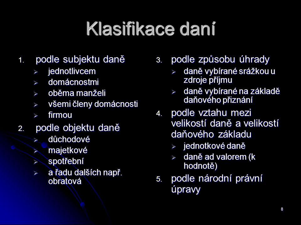 9 Členění daní podle národní právní úpravy Zákon č.