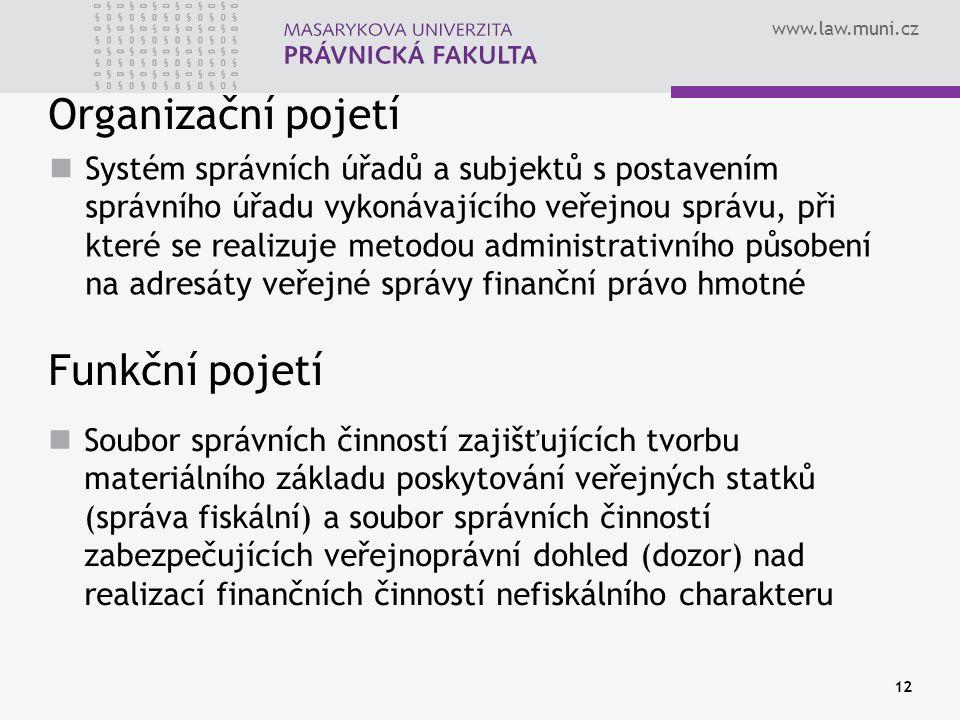 www.law.muni.cz Organizační pojetí Funkční pojetí Systém správních úřadů a subjektů s postavením správního úřadu vykonávajícího veřejnou správu, při k