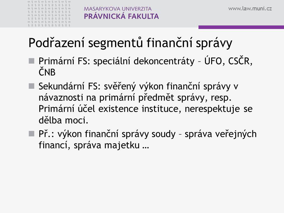 www.law.muni.cz Podřazení segmentů finanční správy Primární FS: speciální dekoncentráty – ÚFO, CSČR, ČNB Sekundární FS: svěřený výkon finanční správy