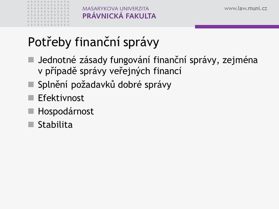 www.law.muni.cz Potřeby finanční správy Jednotné zásady fungování finanční správy, zejména v případě správy veřejných financí Splnění požadavků dobré správy Efektivnost Hospodárnost Stabilita