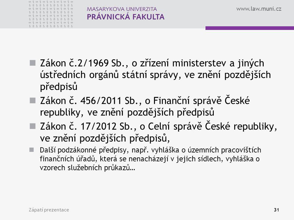 www.law.muni.cz Zákon č.2/1969 Sb., o zřízení ministerstev a jiných ústředních orgánů státní správy, ve znění pozdějších předpisů Zákon č.