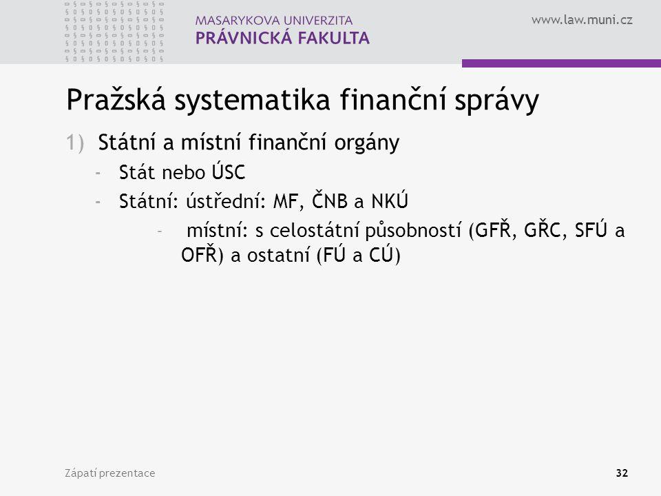 www.law.muni.cz Pražská systematika finanční správy 1)Státní a místní finanční orgány -Stát nebo ÚSC -Státní: ústřední: MF, ČNB a NKÚ - místní: s celo