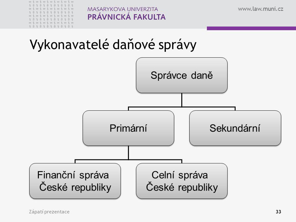 www.law.muni.cz Vykonavatelé daňové správy Zápatí prezentace33 Správce daně Primární Sekundární Finanční správa České republiky Finanční správa České