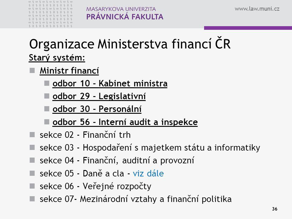 www.law.muni.cz Organizace Ministerstva financí ČR Starý systém: Ministr financí odbor 10 - Kabinet ministra odbor 29 - Legislativní odbor 30 - Person