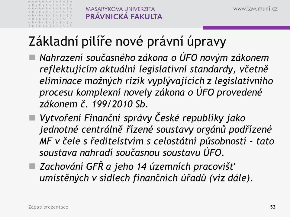 www.law.muni.cz Základní pilíře nové právní úpravy Nahrazení současného zákona o ÚFO novým zákonem reflektujícím aktuální legislativní standardy, včet