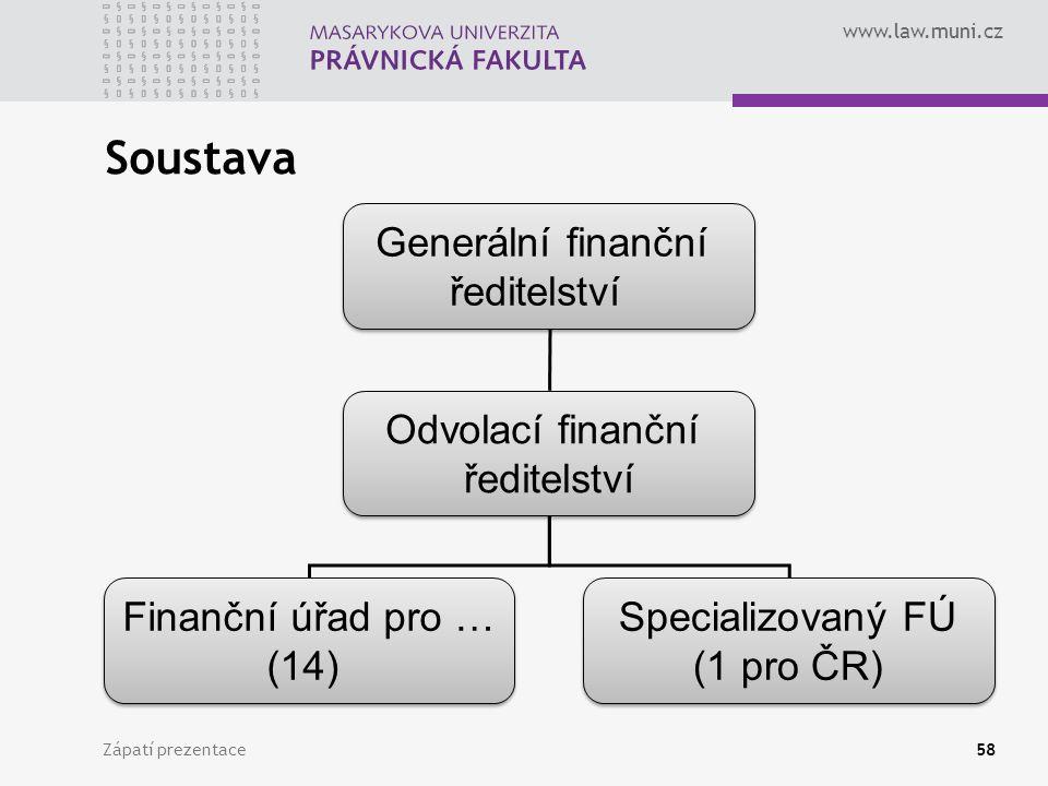 www.law.muni.cz Soustava Zápatí prezentace58 Generální finanční ředitelství Generální finanční ředitelství Odvolací finanční ředitelství Odvolací fina