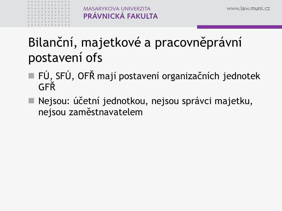www.law.muni.cz Bilanční, majetkové a pracovněprávní postavení ofs FÚ, SFÚ, OFŘ mají postavení organizačních jednotek GFŘ Nejsou: účetní jednotkou, ne
