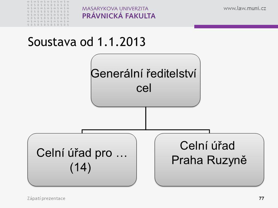 www.law.muni.cz Soustava od 1.1.2013 Zápatí prezentace77 Generální ředitelství cel Generální ředitelství cel Celní úřad pro … (14) Celní úřad pro … (1