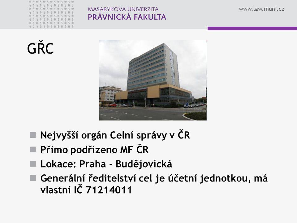 www.law.muni.cz GŘC Nejvyšší orgán Celní správy v ČR Přímo podřízeno MF ČR Lokace: Praha - Budějovická Generální ředitelství cel je účetní jednotkou,